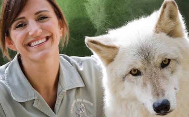 Animal trainer and a white wolf